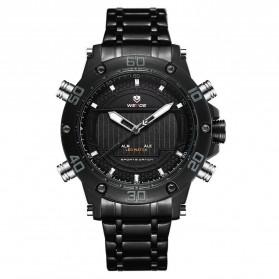 Weide Jam Tangan Analog Pria Strap Stainless Steel - WH6910 - Black/Black