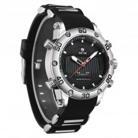 Weide Jam Tangan Analog Pria Strap Silicone - WH6910 - Black/Silver - 3