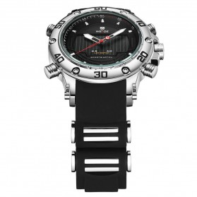 Weide Jam Tangan Analog Pria Strap Silicone - WH6910 - Black/Silver - 4