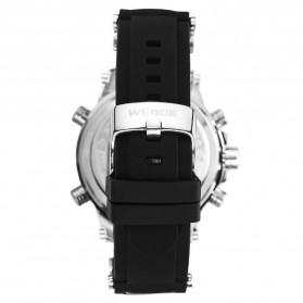 Weide Jam Tangan Analog Pria Strap Silicone - WH6910 - Black/Silver - 5