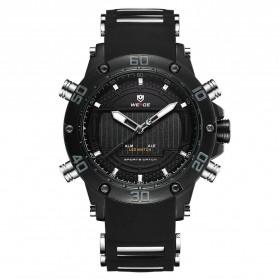 Weide Jam Tangan Analog Pria Strap Silicone - WH6910 - Black/Black