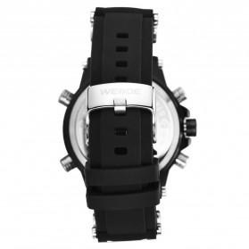 Weide Jam Tangan Analog Pria Strap Silicone - WH6910 - Black/Black - 5