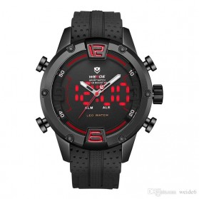 Weide Jam Tangan Digital Analog Pria Strap Silicone - WH7301 - Black/Red - 1