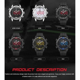 Weide Jam Tangan Digital Analog Pria Strap Silicone - WH7301 - Black/Red - 2