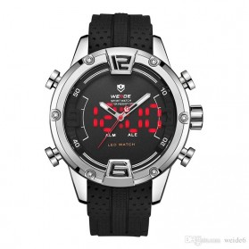 Weide Jam Tangan Digital Analog Pria Strap Silicone - WH7301 - Silver
