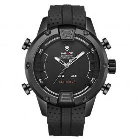 Weide Jam Tangan Digital Analog Pria Strap Silicone - WH7301 - Black