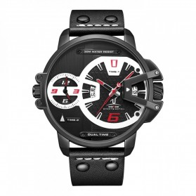Weide Jam Tangan Analog Strap Kulit  - UV1702B - Black/Red