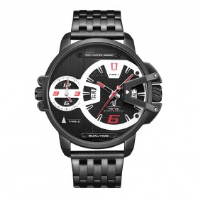 Weide Jam Tangan Analog Strap Stainless Steel - UV1702B - Black/Red
