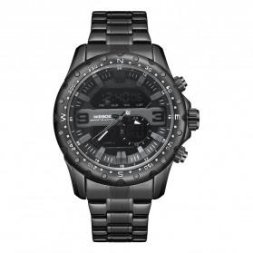 Weide Jam Tangan Digital Analog Premium Stainless Steel Pria - WH8502 - Black/Black
