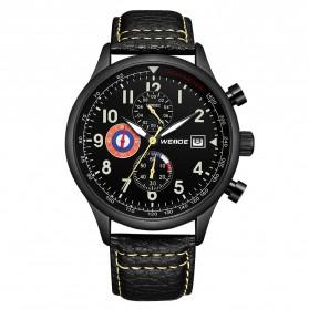Weide Japan Quartz Leather Strap Men Fashion Watch 30M - WD010 - Black