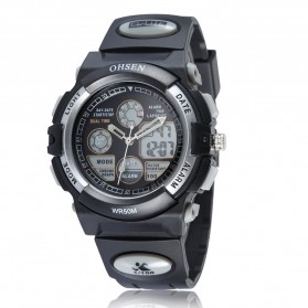 Ohsen Waterproof Quartz Digital Sport Watch - AD1501-1 - Black/Silver