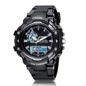 Ohsen Waterproof Quartz Digital Sport Watch - AD1506-1 - Black