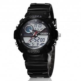 Ohsen Waterproof Quartz Digital Sport Watch - AD1008-1 - Black
