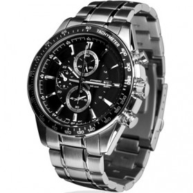 Umeishi Quartz Stainless Strap Man Watch 30M Water Resistance - Q009 - Black