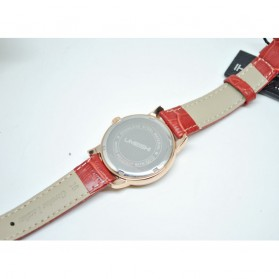 Umeishi Quartz Leather Strap Women Fashion Watch 30M Water Resistance - Q013 - Red - 3