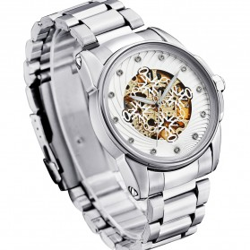 Ouyawei Skeleton Stainless Steel Automatic Mechanical Watch - OYW1345 - White/Silver