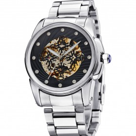 Ouyawei Skeleton Stainless Steel Automatic Mechanical Watch - OYW1345 - Silver Black