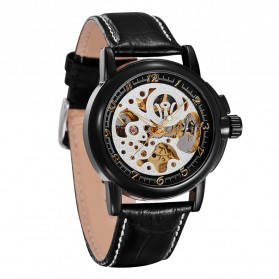 Ouyawei Skeleton Leather Strap Automatic Mechanical Watch - OYW1039 - Black/Silver