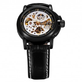 Ouyawei Skeleton Leather Strap Automatic Mechanical Watch - OYW1039 - Black/Silver - 2