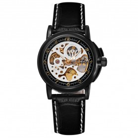 Ouyawei Skeleton Leather Strap Automatic Mechanical Watch - OYW1039 - Black/Silver - 4