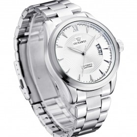 Ouyawei Luxury Men Stainless Steel Automatic Mechanical Watch - OYW1331 - White/Silver - 3