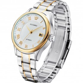 Ouyawei Luxury Men Stainless Steel Automatic Mechanical Watch - OYW1329 - White/Gold - 1