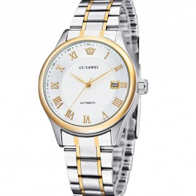 Ouyawei Luxury Men Stainless Steel Automatic Mechanical Watch - OYW1329 - White/Gold - 4