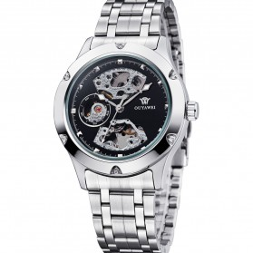 Ouyawei Skeleton Stainless Steel Automatic Mechanical Watch - OYW1321 - Silver Black