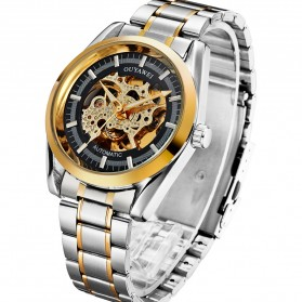 Ouyawei Skeleton Stainless Steel Automatic Mechanical Watch - OYW1320 - Black Gold
