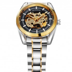 Ouyawei Skeleton Stainless Steel Automatic Mechanical Watch - OYW1320 - Black Gold - 2
