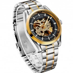 Ouyawei Skeleton Stainless Steel Automatic Mechanical Watch - OYW1320 - Black Gold - 3