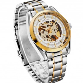 Ouyawei Skeleton Stainless Steel Automatic Mechanical Watch - OYW1320 - White/Gold - 3