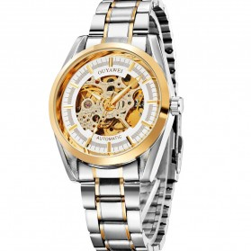 Ouyawei Skeleton Stainless Steel Automatic Mechanical Watch - OYW1320 - White/Gold - 4