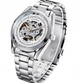 Ouyawei Skeleton Stainless Steel Automatic Mechanical Watch - OYW1320 - White/Silver - 1