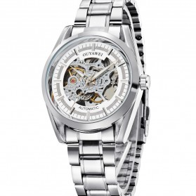 Ouyawei Skeleton Stainless Steel Automatic Mechanical Watch - OYW1320 - White/Silver - 2