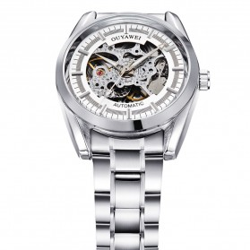 Ouyawei Skeleton Stainless Steel Automatic Mechanical Watch - OYW1320 - White/Silver - 3