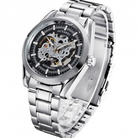 Ouyawei Skeleton Stainless Steel Automatic Mechanical Watch - OYW1320 - Silver Black