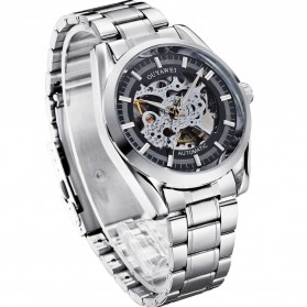 Ouyawei Skeleton Stainless Steel Automatic Mechanical Watch - OYW1320 - Silver Black - 3