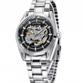 Ouyawei Skeleton Stainless Steel Automatic Mechanical Watch - OYW1320 - Silver Black - 4