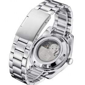 Ouyawei Skeleton Stainless Steel Automatic Mechanical Watch - OYW1320 - Silver Black - 6