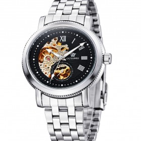 Ouyawei Skeleton Stainless Steel Automatic Mechanical Watch - OYW1312 - Silver Black - 1