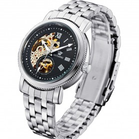 Ouyawei Skeleton Stainless Steel Automatic Mechanical Watch - OYW1312 - Silver Black - 2
