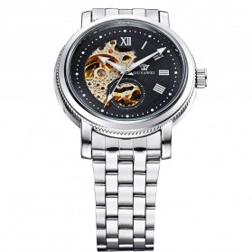 Ouyawei Skeleton Stainless Steel Automatic Mechanical Watch - OYW1312 - Silver Black - 3