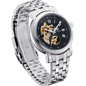 Ouyawei Skeleton Stainless Steel Automatic Mechanical Watch - OYW1312 - Silver Black - 4