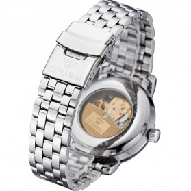 Ouyawei Skeleton Stainless Steel Automatic Mechanical Watch - OYW1312 - Silver Black - 5