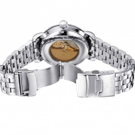 Ouyawei Skeleton Stainless Steel Automatic Mechanical Watch - OYW1312 - Silver Black - 7