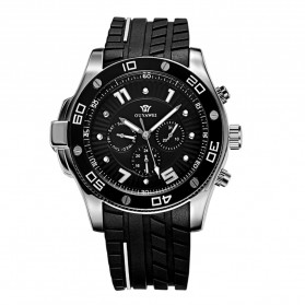Ouyawei Sports Men Silicone Strap Automatic Mechanical Watch - OYW1209 - Black