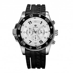 Ouyawei Sports Men Silicone Strap Automatic Mechanical Watch - OYW1209 - White