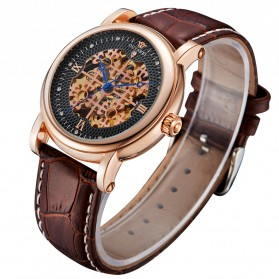Ouyawei Skeleton Leather Strap Automatic Mechanical Watch - OYW1343 - Golden - 3