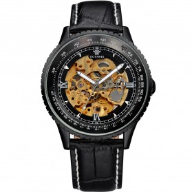 Ouyawei Skeleton Leather Strap Automatic Mechanical Watch - OYW1335 - Black/Black